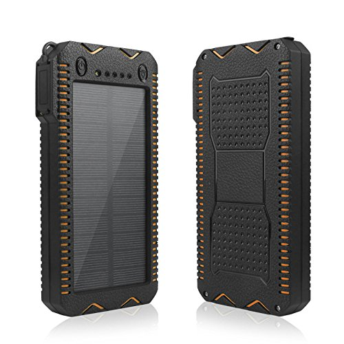 Eachbid Solar Charger,Portable [Upgrade Version] 20000mAh Dual USB Solar Battery Charger External Battery Pack Phone Charger Power Bank for Outdoors (Rainproof, Dust-proof, Shockproof) (Orange)