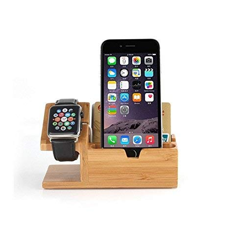 Gorilla Gadgets Apple Watch Charging Stand Smartphone Charger Dock With 3 USB/Lightning Ports, Nature