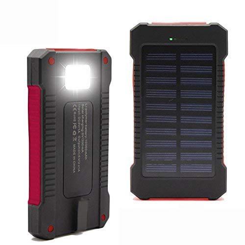 iMeshbeanSolar Charger,30000mAh Solar Power Bank with Dual USB, External Backup Battery Pack Solar Panel Cellphone Charger for iPhone and Android Cellphones (Red)