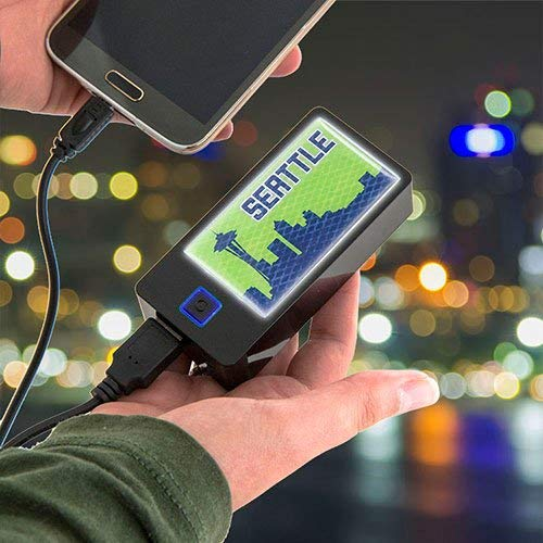 Light Up Travel Energy Pack: City Series (Seattle) Seahawks Colors light up with this 4400mAh Powerbank
