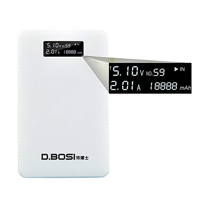 20000mAh DBOSI Smart Power Bank - Quick Charge Largest Power Bank with Accurate Power Display and Dual 3.5A Output for iPhone and Android Devices