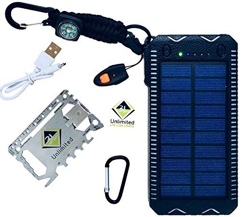Solar Power Bank Bundle | Waterproof External Battery Charger w/Dual USB Ports for Phone Tablet Small Devices | Led Flashlight Emergency Whistle Compass Paracord Lighter | Multi-Tool w/Money Clip