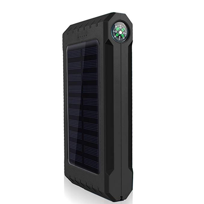 Eachbid Solar Charger, Solar Power Bank 12000mAh External Backup Battery Pack Dual USB Solar Panel Charger with 6LED Light Thermometer Compass Portable for Emergency Outdoor Camping Travel Black