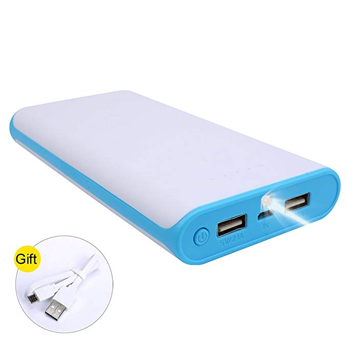 20000 mAh Portable Power Bank 2 USB Ports Mobile Charger External Battery with 4 LED Indicator for iPhone, iPad, and other Smart Devices (Blue)