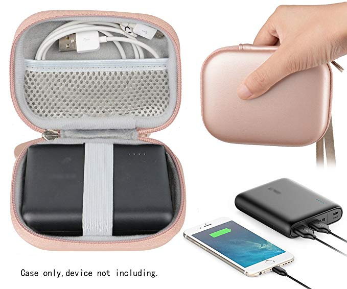 Travel Easy Designed Protective Case by WGear for Anker PowerCore 13000 Portable Charger, mesh pocket for cable, fastening elastic strap, featured wrist strap (Rose Gold)