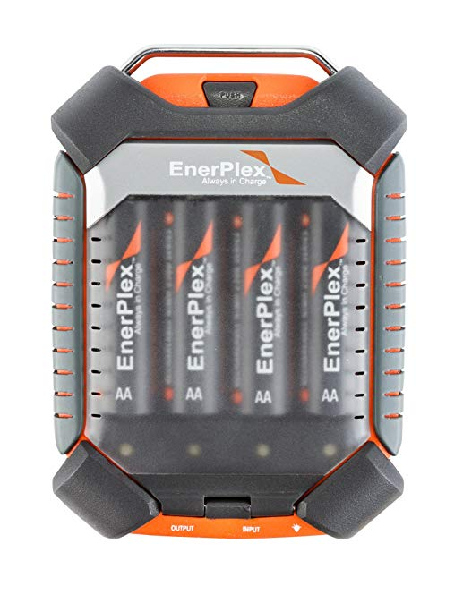 EnerPlex Jumpr Quad Power Bank for Smartphones, MP3 Players and More Includes 4 AA Rechargeable Batteries (JR9200QST)