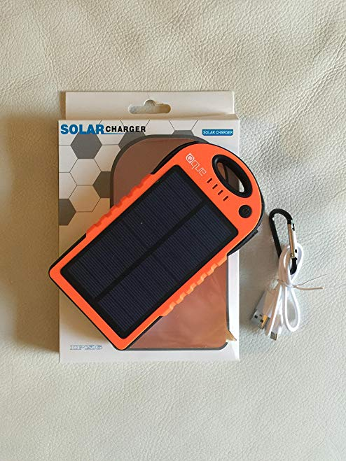 QueUSA Solar Charger 12000mAh, Solar Power Bank, Dual USB Port Portable Charger, Solar Battery Charger for iPhone, iPad, Tablet, Camera, Solar Cell Phone Chargers