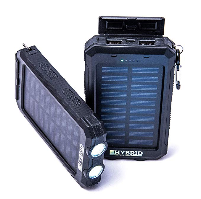 Portable Charger Solar Charger Compatible with iPhone Android Bluetooth Speakers USB Toys 8000mAh Power Bank with Compass, Flashlight & 2 USB Ports Great for Travel Sports Camping & Emergencies