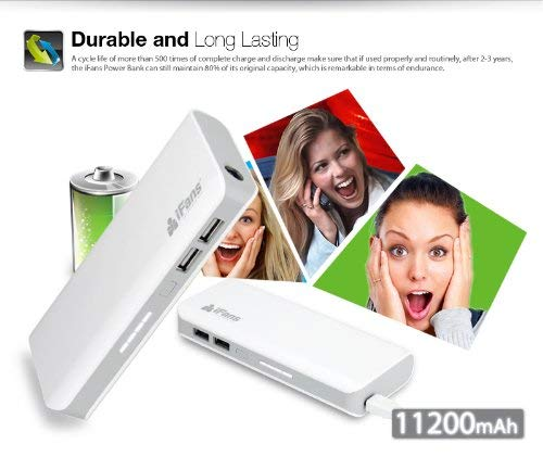 iFans Portable High Capacity Power Bank 11200mAh Dual-Port USB Rechargeable Emergency Battery Backup For Smartphone & Tablets