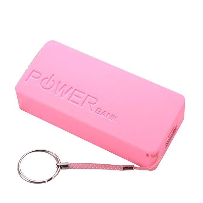 SUKEQ Portable 5600mAh 2 X 18650 USB Power Bank Carrying Case with Keychain DIY Battery External Charger Case Box For iPhone, Samsung Galaxy, Sony, Other Cellphones, 22 X 42 X 96mm