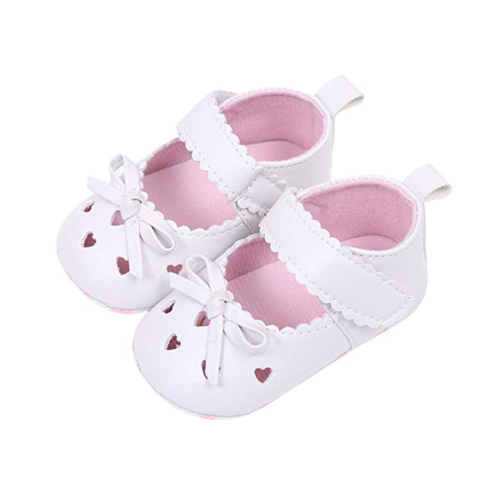 Minisoya Newborn Infant Baby Girls Crib Shoes Heart Hollowed Soft Sole Anti-Slip Sneakers Casual Bowknot Princess Shoes