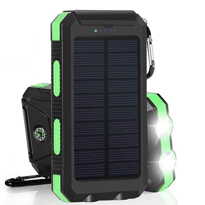 Errbbic 20000mAh Solar Power Bank Solar Charger Waterproof Portable Battery Charger with Compass for iPad iPhone Android Cellphones (Black & Green)