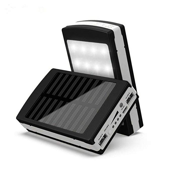 SUKEQ Solar Charger Case, DIY Waterproof Dual USB Portable Power Bank 5x18650 External Battery Charger Solar Energy Charging DIY Box Case With LED Flashlight for Android, iPhone, Samsung