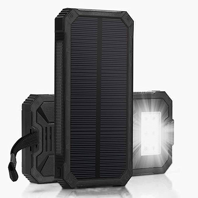 Solar Chargers 30,000mAh, LMS Portable Dual USB Solar Battery Charger External Battery Pack Phone Charger Power Bank with Flashlight for Smartphones Tablet Camera (Black)