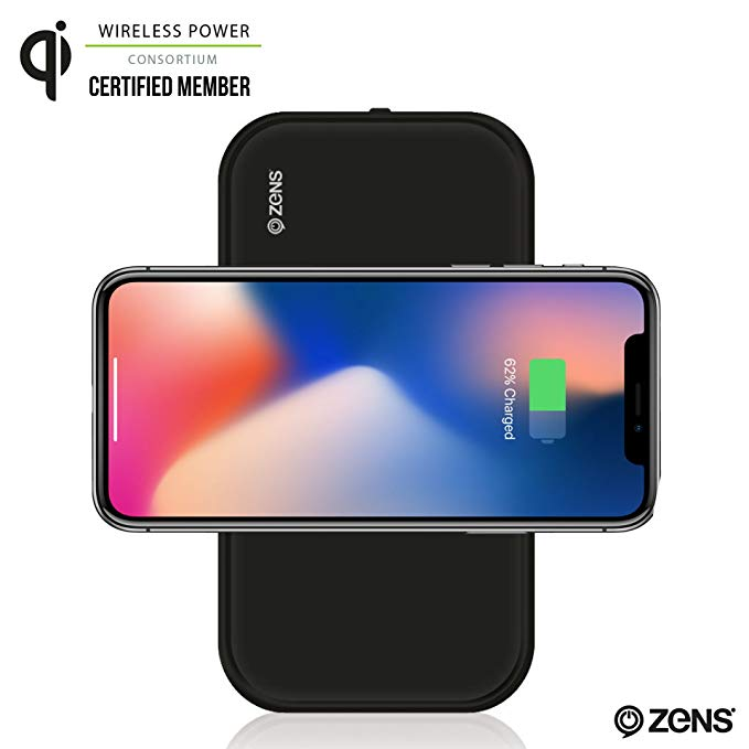 Portable Bluetooth Speaker & Wireless Charger Power Bank by ZENS | Enables Qi Charging | 2 x 5W Speakers | Compatible with iPhone 8/8+/X, Samsung Galaxy S7, S8, Android, All Other Qi Enabled Devices