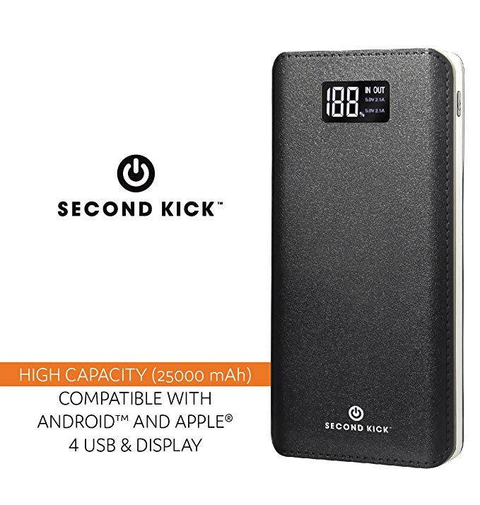 Portable Charger Ultra High Capacity Big 25000mAh Power Bank by Second Kick. 4 USB Ports Type C, Led Light & Led Display Screen. Big Power Battery Pack Compatible w iPhone, iPad, Samsung Android sm