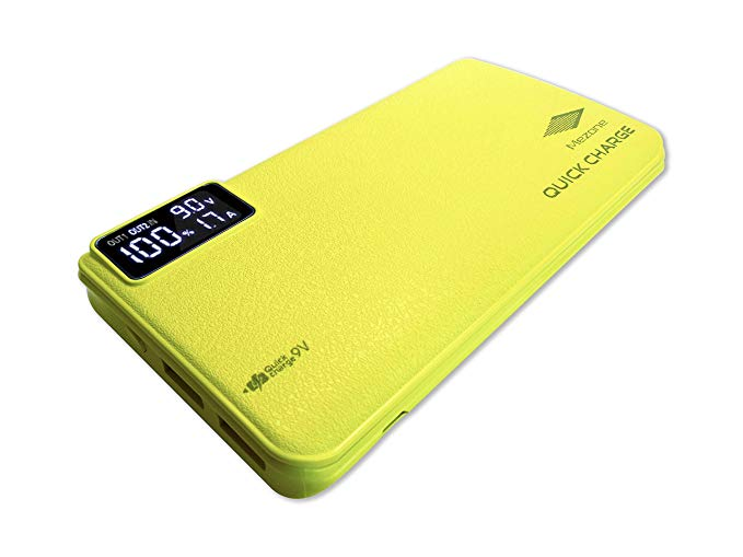 Mezone 10,000mAh Quick Charge 3.0 Portable Charger Power Bank with smart digital display for Samsung, LG, , iPhone, iPad and More, 12 MONTH WARRANTY (Yellow)