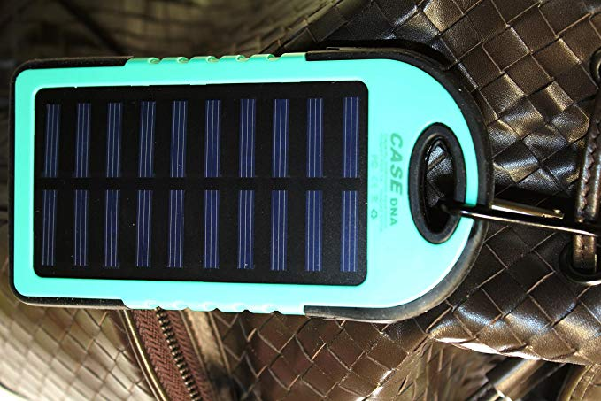 Solar Charger, Solar Power Bank 30000mAh Portable Dual USB Power Charger Backup 20 X LED Flashlight External Battery Solar Panel Power Bank With Hook for iPhone, iPod, Samsung, LG, HTC (Blue)